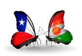 Butterflies with  Chile and Niger flags — Stock Photo