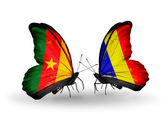 Butterflies with Cameroon and Chad, Romania flags — Stock Photo