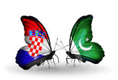 Butterflies with Croatia and Pakistan flags — Stock Photo