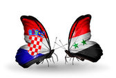 Butterflies with Croatia and Syria flags — Stock Photo