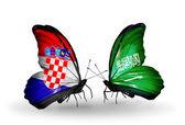 Butterflies with Croatia and Saudi Arabia flags — Stock Photo