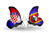Butterflies with Croatia and Swaziland flags — Stock Photo