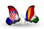 クロアチアとセイシェル フラグと蝶 — ストック写真