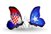 Butterflies with Croatia and Somalia flags — Stock Photo