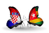 Butterflies with Croatia and Togo flags — Stock Photo