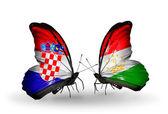 Butterflies with Croatia and Tajikistan flags — Stock Photo