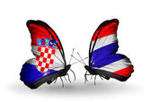 Butterflies with Croatia and Thailand flags — Stock Photo