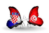 Butterflies with Croatia and Tunisia flags — Stock Photo