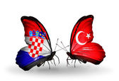 Butterflies with Croatia and Turkey flags — Stock Photo