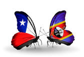 Butterflies with Chile and Swaziland flags — Stock Photo