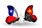 Butterflies with Chile and Papua New Guinea flags — Stock Photo