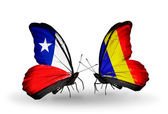 Butterflies with Chile and Chad, Romania flags — Stock Photo