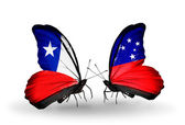 Butterflies with Chile and Samoa flags — Stock Photo
