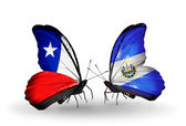 Butterflies with Chile and Salvador flags — Stock Photo