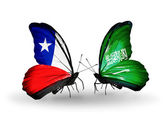 Butterflies with Chile and Saudi Arabia flags — Stock Photo