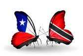 Butterflies with Chile and Trinidad and Tobago flags — Stock Photo