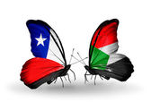 Butterflies with Chile and Sudan flags — Stock Photo
