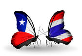 Butterflies with Chile and Thailand flags — Stock Photo