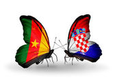 Butterflies with Cameroon and Croatia flags — Stock Photo