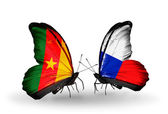 Butterflies with Cameroon and Czech flags — Stock Photo