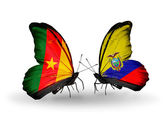 Butterflies with Cameroon and Ecuador flags — Stock Photo