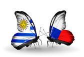 ウルグアイとチェコのフラグと蝶 — ストック写真