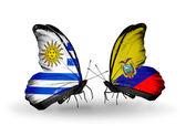 ウルグアイとエクアドル フラグと蝶 — ストック写真