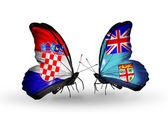 クロアチアとフィジー フラグと蝶 — ストック写真