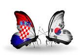 クロアチアと韓国フラグと蝶 — ストック写真