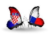 クロアチア、チェコ語のフラグを持つ蝶 — ストック写真