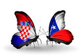 Butterflies with Croatia and Chile flags — ストック写真