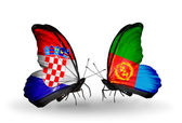 Butterflies with Croatia and Eritrea flags — Stock Photo