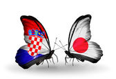 Butterflies with Croatia and Japan flags — ストック写真