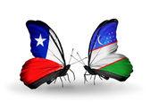 チリとウズベキスタン フラグと蝶 — ストック写真