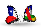 Butterflies with Chile and Central African Republic flags — Stock Photo