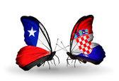 チリとクロアチア フラグと蝶 — ストック写真