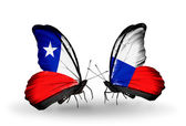 Butterflies with Chile and Czech flags — Stockfoto
