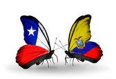 チリそしてエクアドル フラグと蝶 — ストック写真