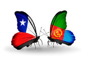 Butterflies with Chile and Eritrea flags — Stock Photo