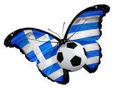 Mariposa con bandera griega y de la bola — Foto de Stock