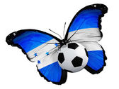 Butterfly with Honduras flag and ball — Stock Photo