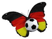 Butterfly with Germany flag and ball — Stock Photo