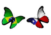 Butterflies with Brazil and Chile flags — Stock Photo