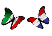 Butterflies with Mexico and Holland flags — Stock Photo