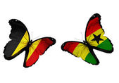 Butterflies with Belgium and Ghana flags — Stock Photo