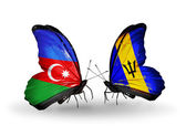 Butterflies with Azerbaijan and Barbados flags on wings — Stock Photo