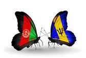 Butterflies with Afghanistan and Barbados flags on wings — Stock Photo