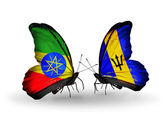 Butterflies with Ethiopia and Barbados flags on wings — Stock Photo