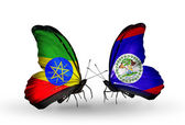 Butterflies with Ethiopia and Belize flags on wings — Stock Photo