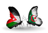 Butterflies with Jordan and Algeria flags on wings — Stock Photo
